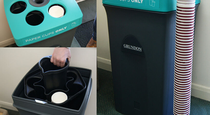 Economical paper cup recycling