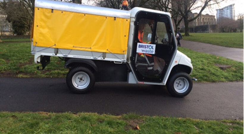 Electric truck assists street cleansing team
